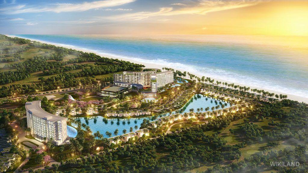 Tổng thể dự án Mövenpick Resort Waverly Phú Quốc movenpick phu quoc, GIỚI THIỆU TỔNG QUAN VỀ DỰ ÁN MOVENPICK RESORT WAVERLY PHÚ QUỐC Condotel Movenpick Phu Quoc WIKILANDBird view 1024x576